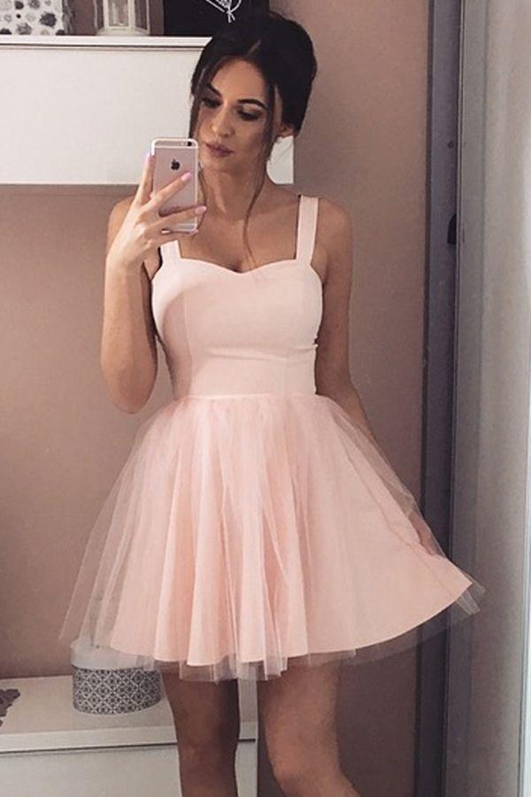 e506f0e65fe Princess Straps Pink Satin Tulle Homecoming Dress