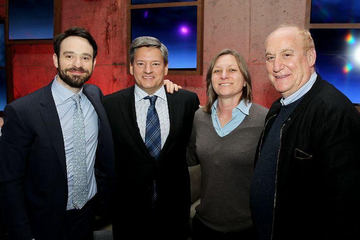 Charlie Cox, Ted Sarandos (Chief Content Officer NETFLIX),  Cindy Holland (VP Original Series), Jeph Loeb (Exec Producer Marvel's Daredevil, Head of Televison Marvel)