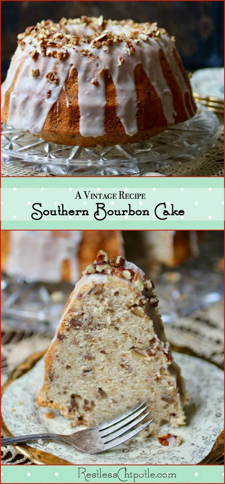 Homemade bourbon cake recipe from a vintage cookbook. This easy recipe is about as Southern as you can get! Pecans add a buttery richness to the moist bundt cake and top the sweet bourbon glaze. Soaked in bourbon, too!The baking technique is what makes it