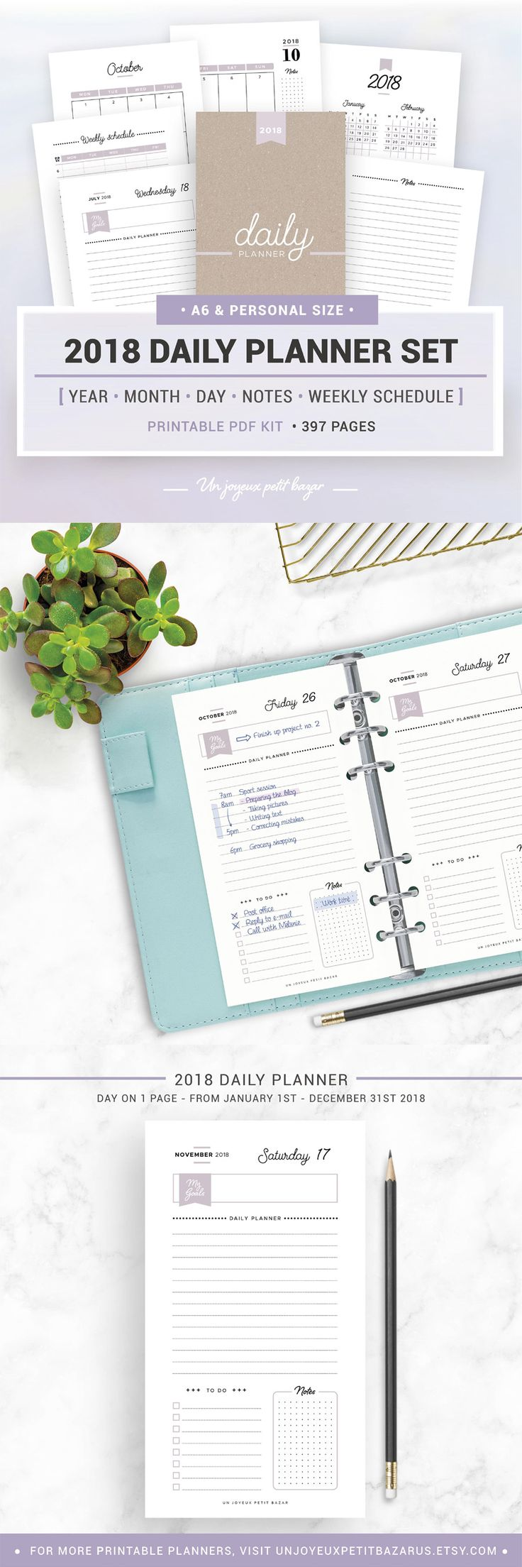 Printable Daily Planner 2018 - stop overwhelm and get into action with this cute planner set - includes: 2018 yearly calendar - Monday and Sunday start versions, monthly calendar 2018, daily planner, weekly schedule, note pages. Available for instant download. #ad #etsy #printable