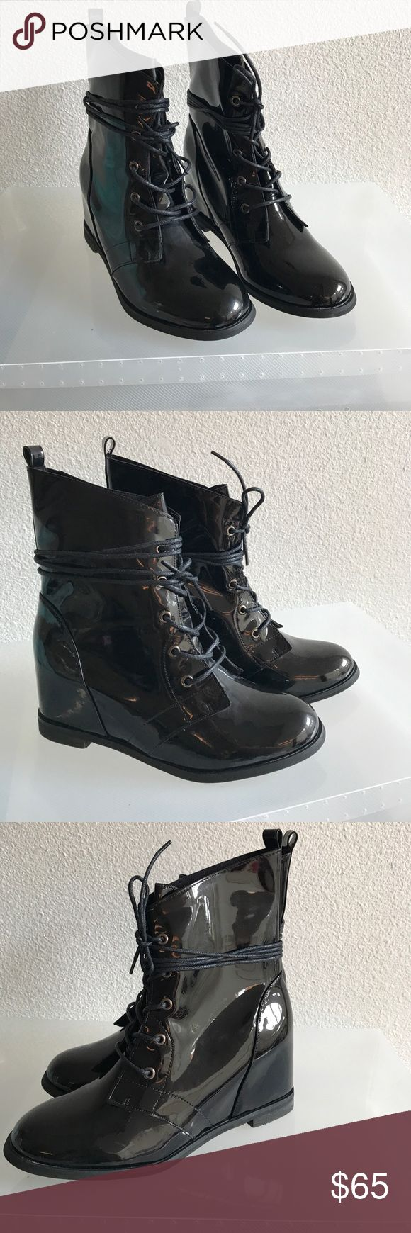 LADIES WEDGE BOOTIES (SHINY PATENT UPPER MATERIAL) NEW IN THE BOX NEVER WORN (THEY ARE VERY COMFORTABLE WEDGE Shoes Lace Up Boots