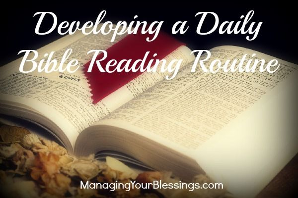 Developing a Daily Bible Reading Routine :: Renee offers some great insight on how to formulate the right daily routine for intimate time in the Word of God. If you are struggling in this area, this article will help you figure out what you need in order to make your daily Bible reading time a success! :: Managing Your Blessings