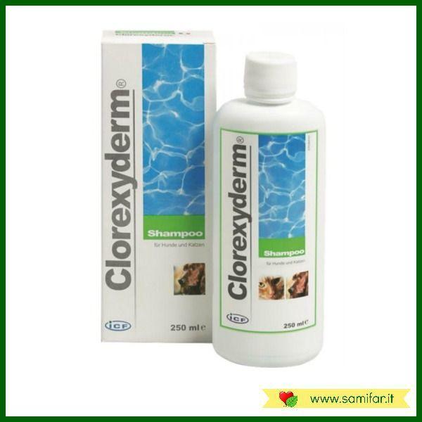 Clorexyderm Shampoo è un detergente specifico per la pulizia e la disinfezione della cute e del pelo degli animali da compagnia a base di clorexidina, un disinfettante ad ampio spettro attivo nei confronti di numerosi batteri.  Clorexyderm Shampoo fino ad una diluizione con acqua 1:1 è inoltre efficace contro Malassezia pachidermatys. http://samifar.it/?product=clorexyderm-shampoo