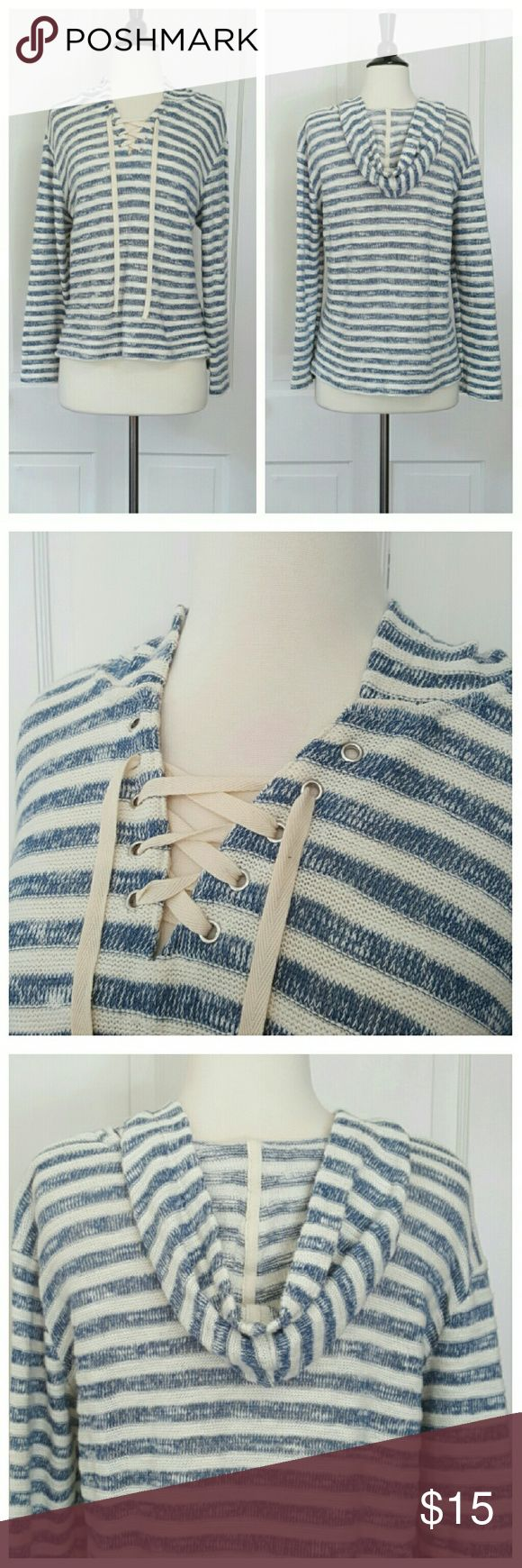 Sonoma Blue And White Striped Lace Up Front Hoodie Sonoma blue and white hoodie with lace up front. Sonoma Tops