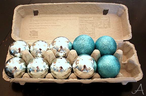 How to organize Christmas decorations- Ask AnnaIdeas, Organic, Christmas Decorations, Ornaments Storage, Egg Cartons, Eggs Cartons, Christmas Ornaments, Small Ornaments, Holiday Decor