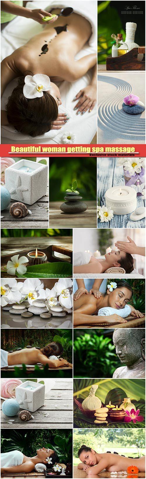 Beautiful woman getting spa massage in spa salon, spa background