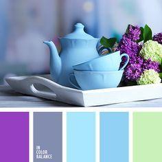 paleta de lila y verde agua