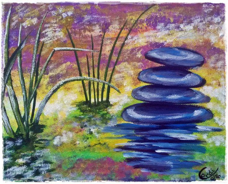 Acrylmalerei - Acrylbild Energiebild Ruhende Steine - ein Designerstück von HOAMELIGundSCHEAN bei DaWanda