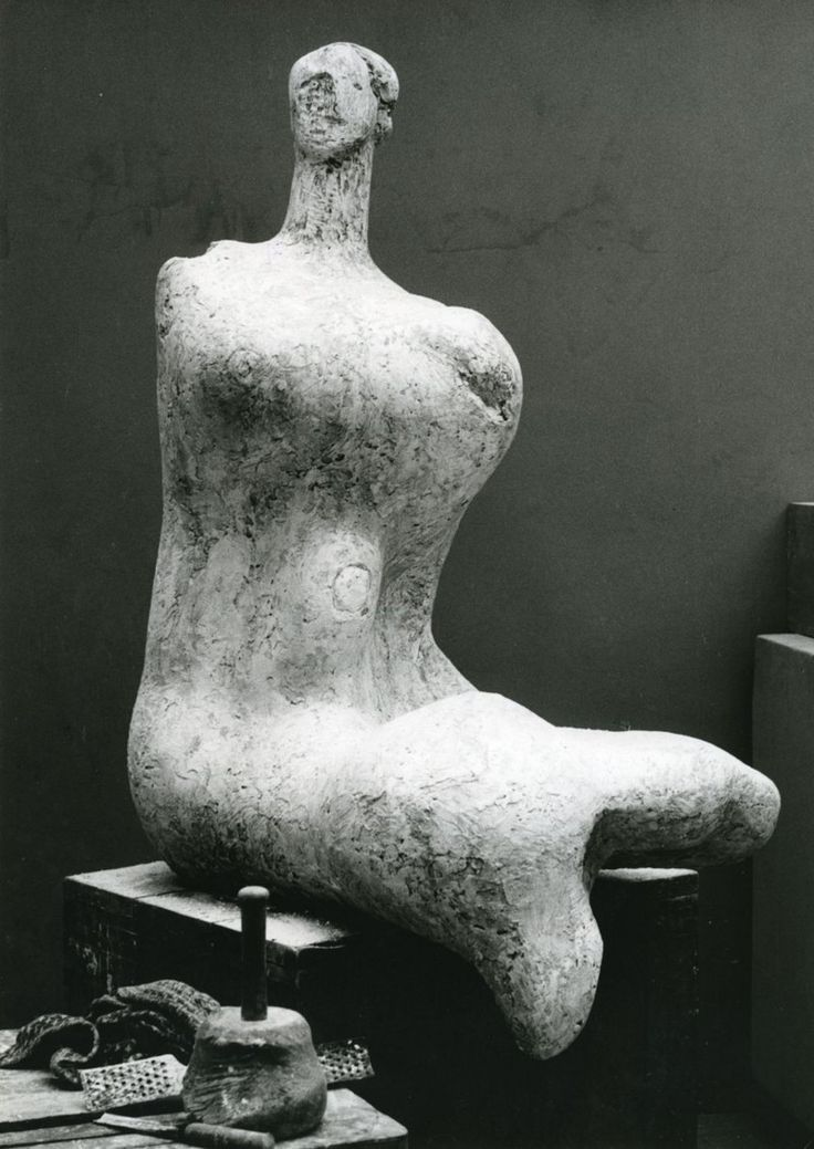 Full-size plaster version of Woman in Moore's studio c.1957–8