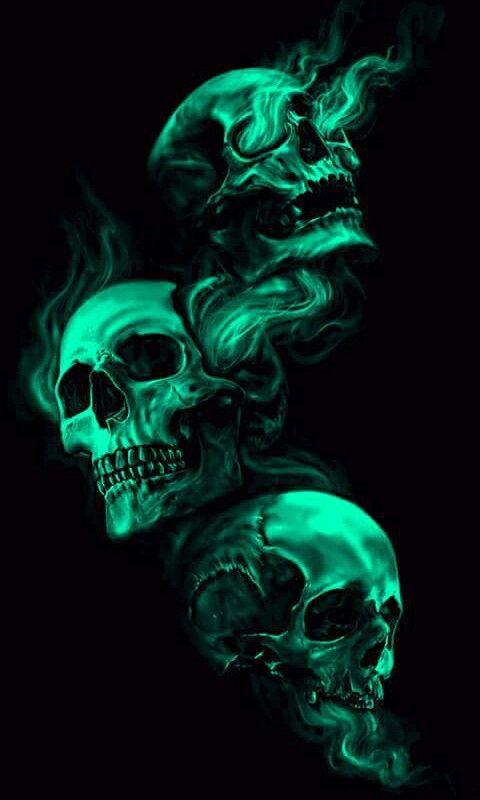 Green Spooky Skulls!! *LadySkull*