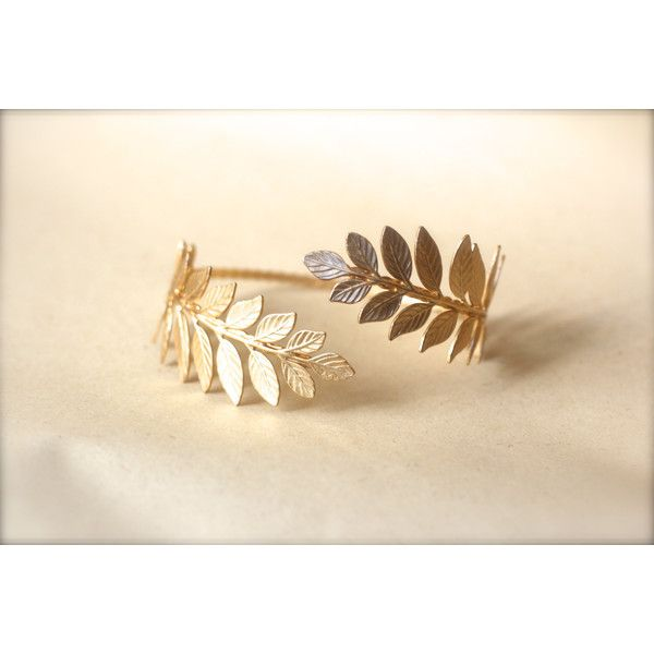 Athena Arm Band, Greek Leaves Arm Cuff, Wrap Around Arm, Flexible... ($65) ❤ liked on Polyvore featuring jewelry, bracelets, accessories, arm band, bijoux, leaf bangle, bridal jewelry, golden bracelet, 24k bracelet and wedding jewelry
