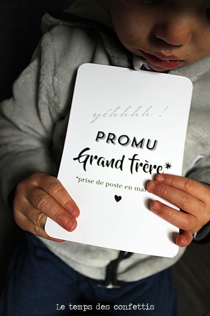 Carte annonce future bébé par le grand frère ou la grande soeur suprise typographie personnalisée de la boutique Letempsdesconfettis sur Etsy