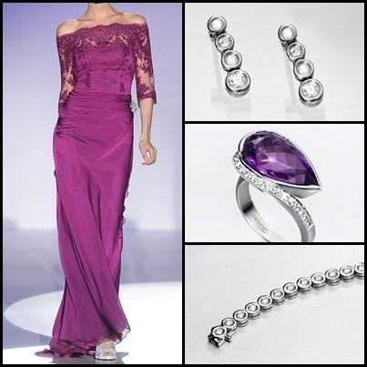 LOOK AMATISTA INTENSO. Si quieres ser una invitada atrevida y que apuesta por colores intensos, ¡este es tu #estilo perfecto! Este #look es perfecto para ceremonias de tarde, ya que cumple todos los requisitos. El tono intenso del púrpura aporta elegancia y un toque festivo al look. Las #joyas están en sintonía, ya que, la sencillez de los pendientes y la pulsera de oro blanco y diamantes, se equilibra con la espectacularidad de esta sortija de oro blanco, diamantes y amatsista. #boda…