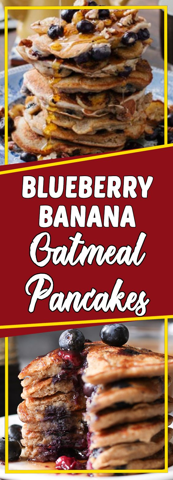 Blueberry Banana Oatmeal Pancakes #dessertrecipes #recipeideas #cookinglight #dessert #desserttable #appetizer
