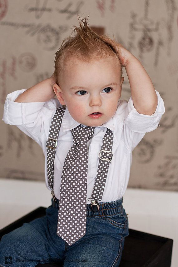Boys French Dot Suspender & Bow tie Set Gray by BabyAccessories, $28.00