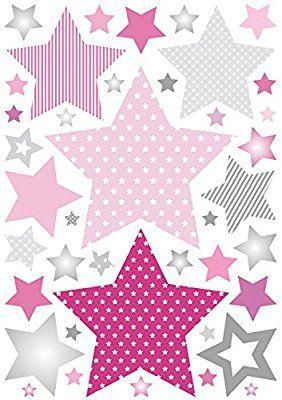 Elegant anna wand Wandsticker STARS GIRLS ROSA GRAU Wandtattoo f r Kinderzimmer Babyzimmer mit