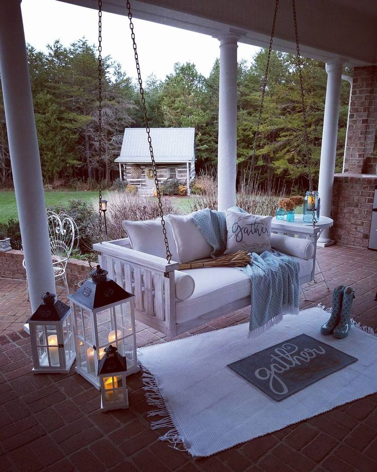 Evening porch time. #porch #porchlife #swing #ballarddesigns #evening