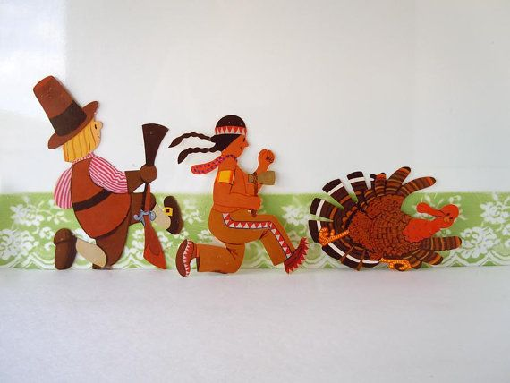 Vintage 1980 Thanksgiving Decoration Diecut Harvest Autumn Pilgrim Turkey Indian