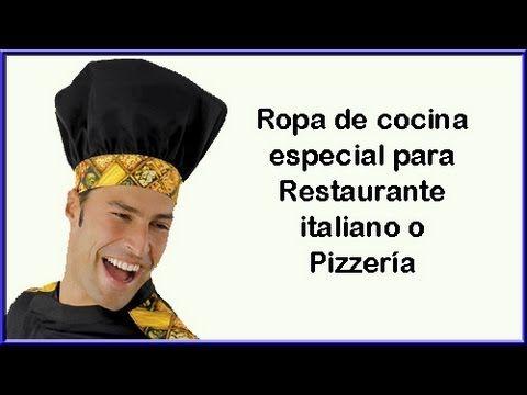 Ropa especial para restaurante italiano o pizzería , chaquetas gorros delantales y pantalones de estampados de pizza y con la bandera italiana
