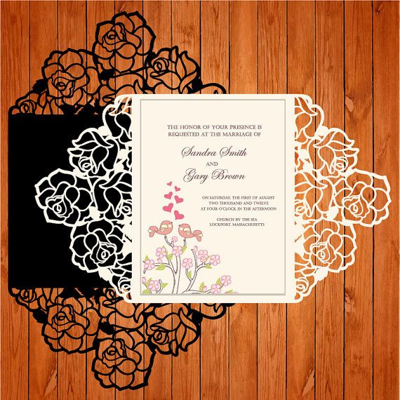 Invitation of the wedding card template lace folds (studio V3, svg) lasercut download immediate Silhouette Cameo, Circuit, vector