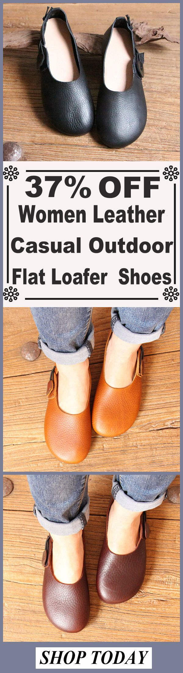 SOCOFY Women Leather Casual Outdoor Soft Slip On Flat Loafer Shoes#shoes #mystyle #shopping