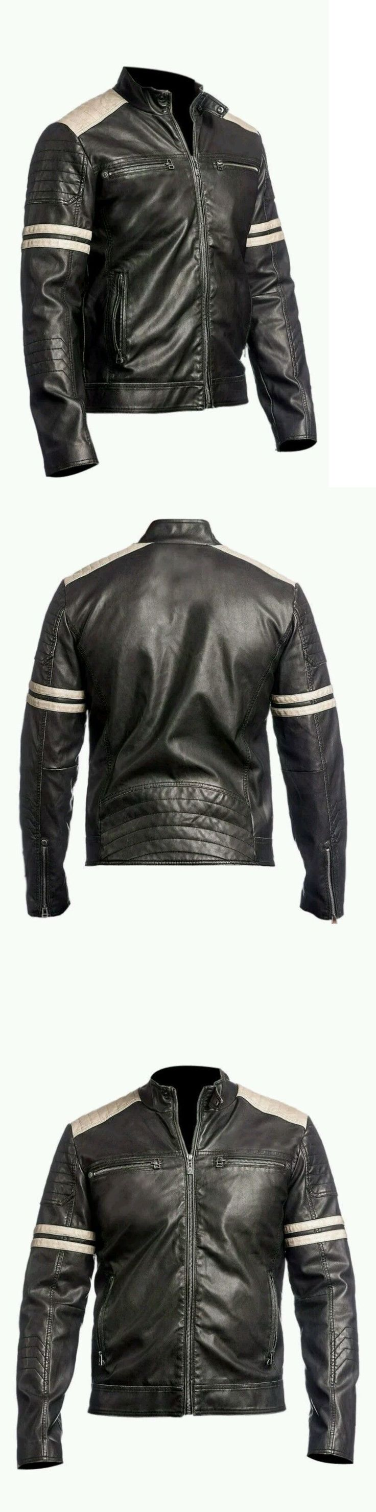 Men Coats And Jackets: New Mens Leather Jacket Black Slim Fit Biker Vintage Motorcycle Cafe Racer -> BUY IT NOW ONLY: $137.0 on eBay!