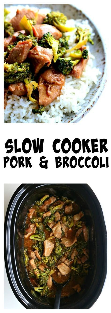 Slow Cooker Pork and Broccoli–you've heard of Asian beef and broccoli but I'm mixing it up today by using pork sirloin instead. This gluten free crockpot recipe is super easy but it will make you feel like you're eating at your favorite Chinese restaurant. Tender pieces of pork and a super savory sauce with semi-cooked broccoli all go together nicely over white rice. #asianpulledporkrecipe