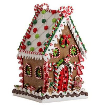 """RAZ Claydough Gingerbread House Decoration Red, Green, White Made of Claydough Measures 13.5"""" X 8"""" X 8"""" For Decorative Use Only 2017 RAZ Peppermint Kitchen Collection"""