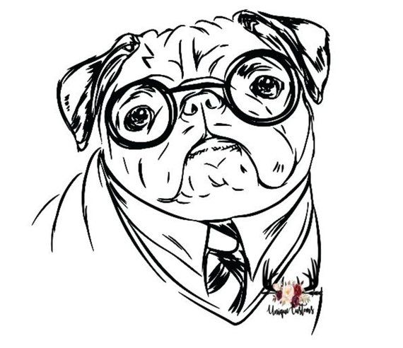 Pug And Coffee Coloring Pages