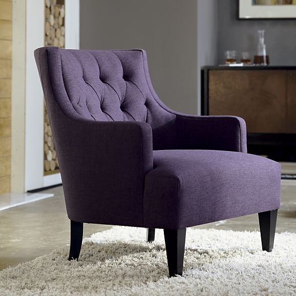 Tess Chair in Chairs | Crate and Barrel: Living Rooms, Color, Crate And Barrel, Upholstered Chairs, Chairs Crates, Purple Chairs, Crates And Barrels, Beautiful Chairs, Tess Chairs