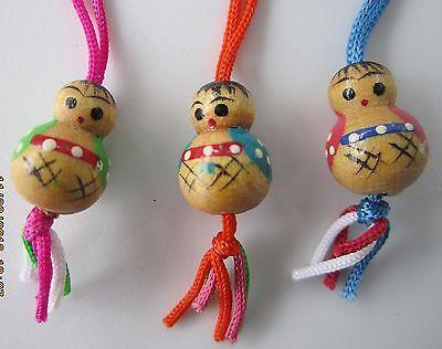 3 Vintage 1950's Miniature Wood Hand Painted Japanese Kokeshi Dolls Ornaments