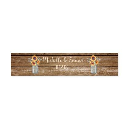 Rustic Sunflower Country Water Bottle Label - wood gifts ideas diy cyo natural