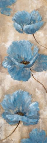 A Summer Wind II - blue poppy painting