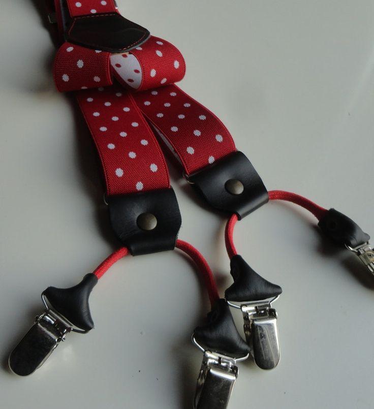 BRETELLA  ROSSO POIS grandi con doppia clips. Particolari in vera pelle di colore nero, largh. cm 3,5 modello a Y. Made in Italy di SuspendersTime su Etsy