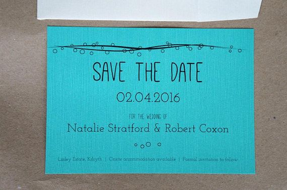 Fun save the date | Waves and bubbles save the date postcard with magnet