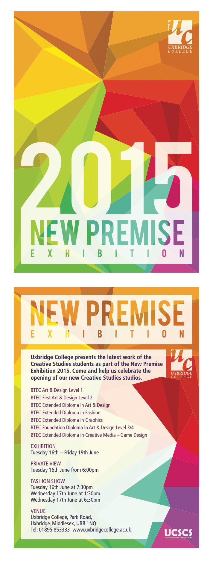 Creative Studies 'New Premise' Invite for Uxbridge College Summer Exhibition by 1st Yr Graphics student Mohamed Kamel