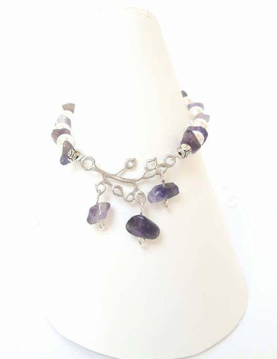 Amethyst Braceletnatural gemstone beadsTibetan by DelabudCreations