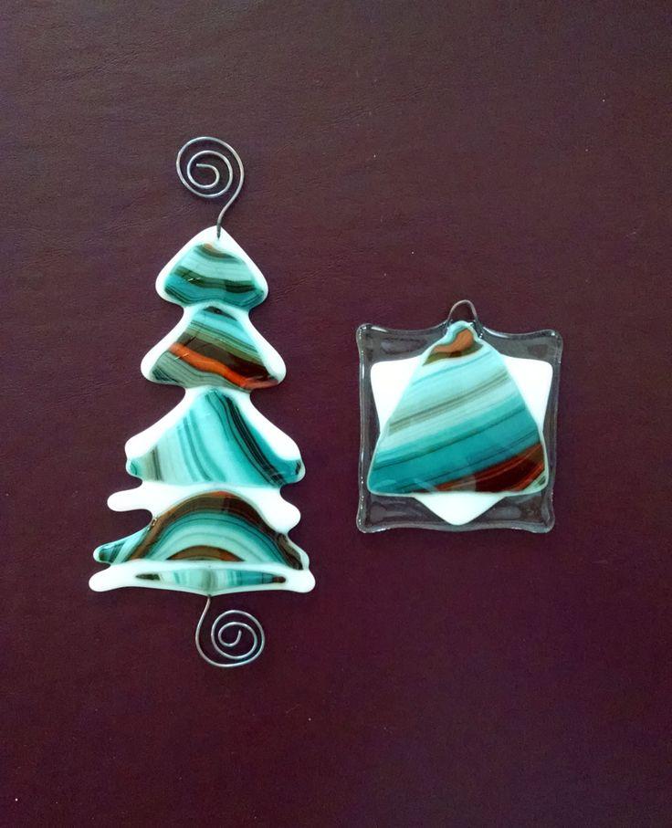 Fused Glass Christmas Tree and Star Ornament Set - Blue Orange Glass Tree - Southwestern - Christmas Ornament - Christmas Decor- Glass Art by StainedGlassYourWay on Etsy