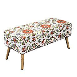 Otto & Ben 37-in EASY LIFT TOP Upholstered Ottoman Storage Bench – Retro Floral feat. cushioned seating with hidden storage / pneumatic hinge / pre-drilled real wooden legs