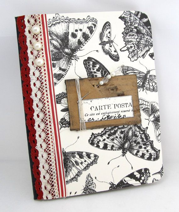 Altered Composition Book - French Vintage Journal - Rustic French Journal - Black and Ivory Journal - Vintage Butterflies - Papillon