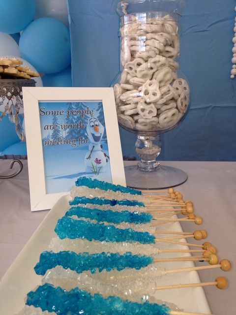 Rock candy at a Frozen Birthday Party!  See more party ideas at CatchMyParty.com!  #partyideas #frozen