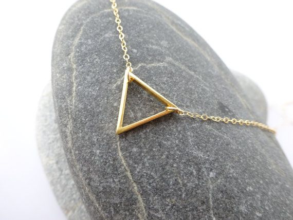 Gold Necklace Gold Triangle Necklace Delicate Gold by ShebasGems