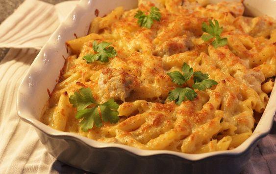 pastaschotel alfredo met kip (kaas en kookroom)