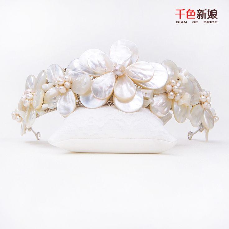 Aliexpress.com: Compre Mulheres lindo coroa shell tiara de pérolas jóias…
