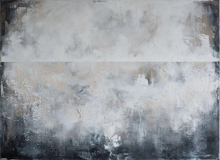 Szara Mgła - 80x100cm - abstrakcyjny obraz ręcznie malowany na płótnie - Sztuka - DecoBazaar