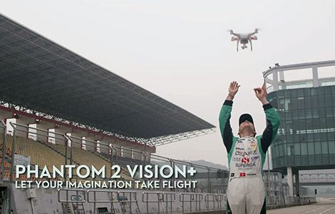The Phantom Vision+ is a ready to fly aerial filming multirotor system with GoPro mount.