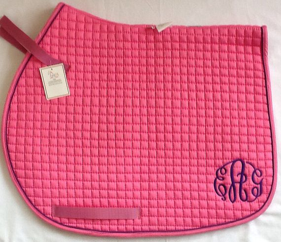 Monogram Saddle Pad by ThePlaidPaddock on Etsy, $35.00 but I would want a different color