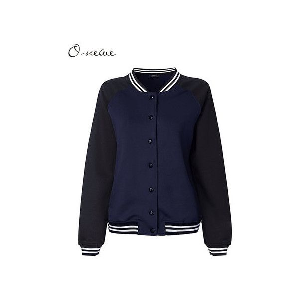 Casual Sport Contrast Color Patchwork Long Sleeve Baseball Jacket Coat ($24) ❤ liked on Polyvore featuring outerwear, coats, navy, women plus size outerwear, navy sports coat, blue sports coat, sport coat, navy sport coat and long sleeve coat