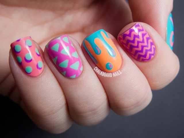 Chalkboard Nails: Hipster Mix and Match Nail Art