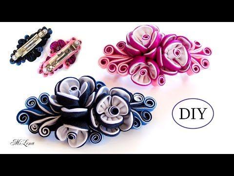 ЗАКОЛКА-АВТОМАТ КАНЗАШИ, МК / DIYKanzashi Flower Hairclip / Kanzashi Tutorial - YouTube